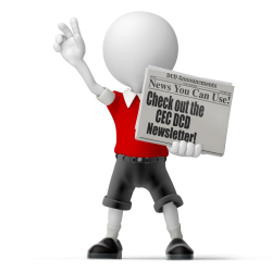 character holding a newspaper